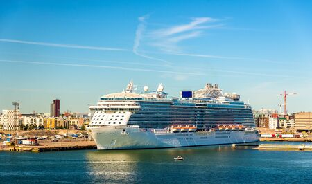 Cruise ship in Port of Helsinki - Finland Stock Photo