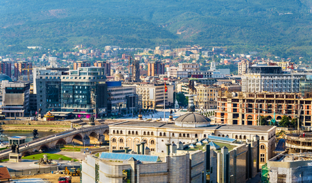 alexander great: Aerial view of the city centre of Skopje - Macedonia Stock Photo