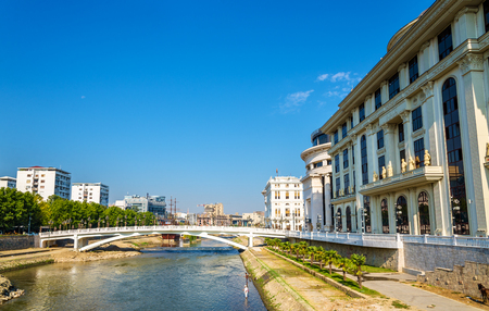 ministry: The Vardar river near Ministry of Foreign Affairs in Skopje Editorial