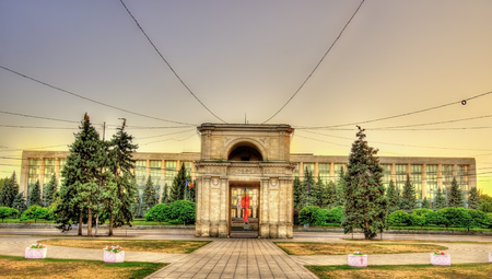 arch: The Triumphal Arch and the Government building in Chisinau - Moldova