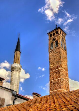 sarajevo: Clock tower and Gazi Husrev-beg Mosque in Sarajevo
