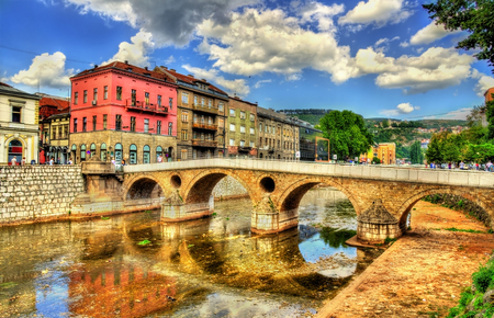 bosnia hercegovina: Latin Bridge in Sarajevo - Bosnia and Herzegovina Stock Photo