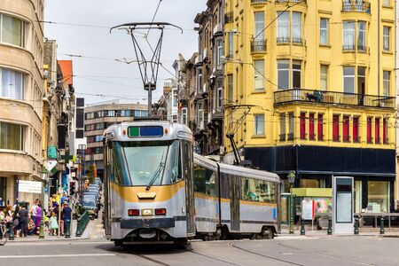 public transport: Old tram on a street of Brussels - Belgium Editorial