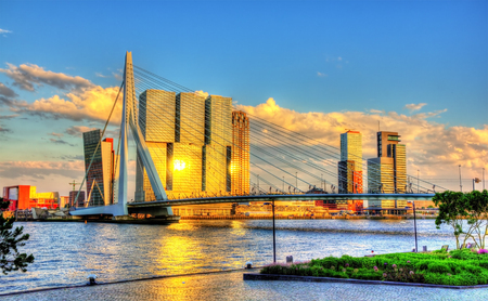 Erasmus Bridge in Rotterdam - Netherlands Editorial