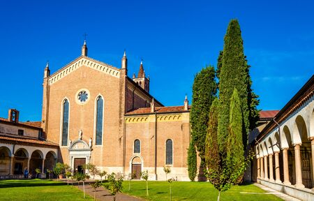 view of an atrium in a building: San Bernardino church in Verona - Italy