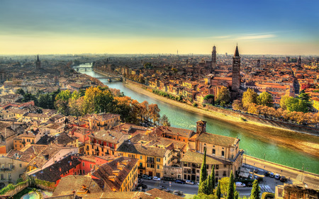 medieval: Panorama of Verona in the morning haze - Italy