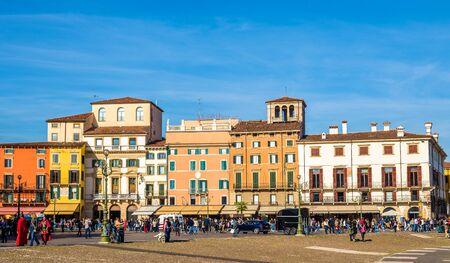 old buildings: Buildings on Piazza Bra in Verona - Italy