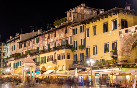 italy culture: Houses on Piazza delle Erbe in Verona - Italy