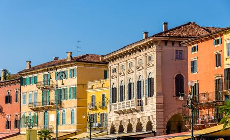 piazza: Buildings on Piazza Bra in Verona - Italy