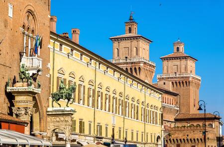 architectural architectonic: Palazzo Municipale and Castello Estense in Ferrara - Italy Editorial