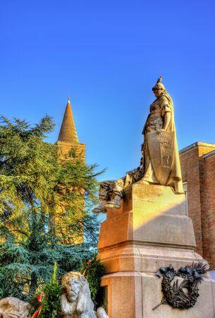 war decoration: Monumento ai Caduti on Anita Garibaldi square in Ravenna