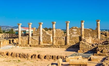 columnas romanas: Columnas romanas en Paphos Parque Arqueol�gico - Chipre Foto de archivo