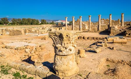 columnas romanas: Columnas romanas en Paphos Parque Arqueológico - Chipre Foto de archivo