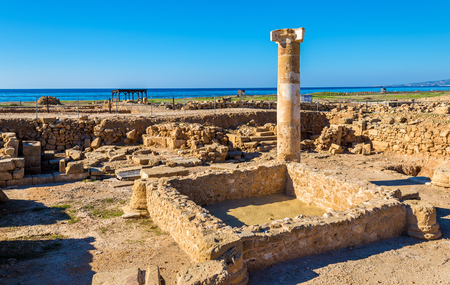 archaeological: Ancient ruins in Paphos Archaeological Park - Cyprus Stock Photo