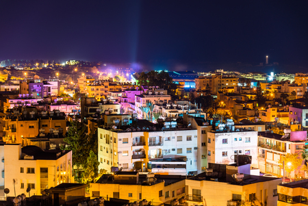 Night view of Paphos city - Cyprus Stock Photo