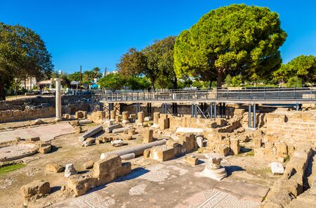 byzantine: Ruins of early Byzantine basilica in Paphos - Cyprus Stock Photo