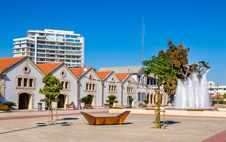 Mening van Europe Square in Larnaca - Cyprus Stockfoto