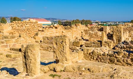 past civilization: Ancient ruins in Paphos Archaeological Park - Cyprus Stock Photo