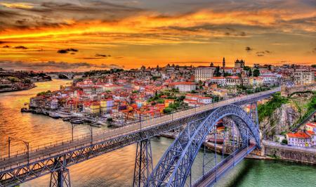 luis: Porto with Dom Luis Bridge - Portugal Stock Photo