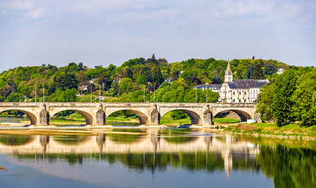wilson: Pont Wilson on the Loire in Tours - France Stock Photo