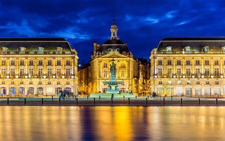 aquitaine: View of Place de la Bourse in Bordeaux - France Editorial