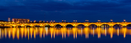 aquitaine: Night view of Pont de pierre in Bordeaux - Aquitaine, France Stock Photo