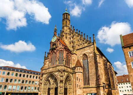 bayern old town: Frauenkirche church in Nuremberg - Germany, Bavaria Stock Photo
