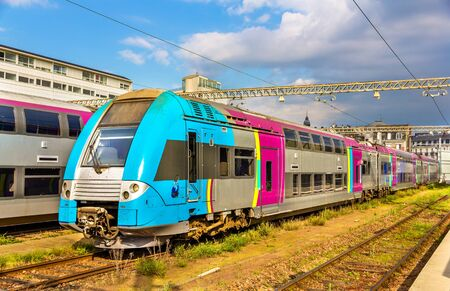 france station: Double-deck regional train at Tours station - France