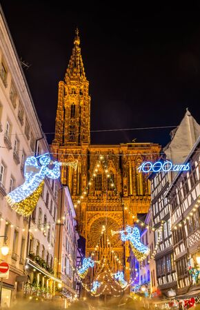 Christmas decorations near the Cathedral - Strasbourg, France