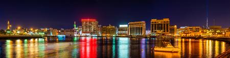 bur dubai: Panorama of Creek district in Dubai, UAE Stock Photo