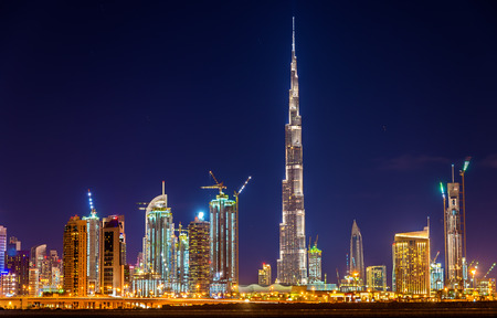marina: Night view of Dubai Downtown with Burj Khalifa Stock Photo