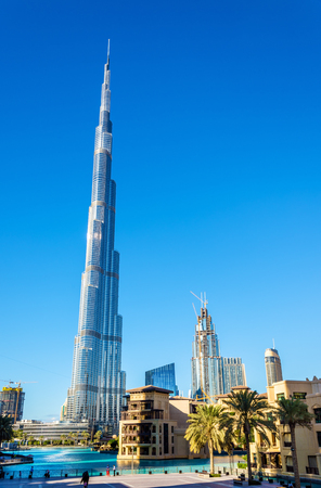 View of Burj Khalifa tower in Dubai, the UAE
