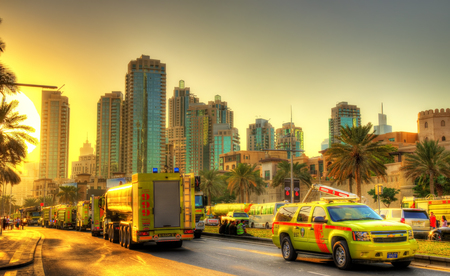 DUBAI, UAE - JANUARY 1: Fire and rescue services near burning Address Downtown Dubai hotel on January 1, 2016. The tower caught fire on New Years Eve