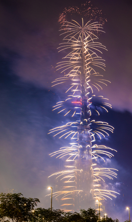january 1: DUBAI, UAE - JANUARY 1: Fireworks from Burj Khalifa on New Years Eve, January 1, 2016. Burj Khalifa is the tallest structure in the world (828 m)