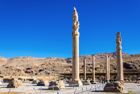 king palace: Ruins of Apadana Palace at Persepolis - Iran Editorial