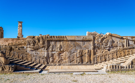 ruins is ancient: Ancient persian carving in Persepolis - Iran Stock Photo