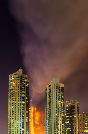 arabic: Fire accident in Dubai on New Years Eve 2016