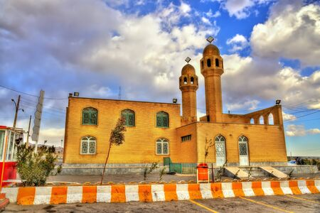 isfahan: Mosque at a rest area of the highway Tehran - Isfahan, Iran Stock Photo