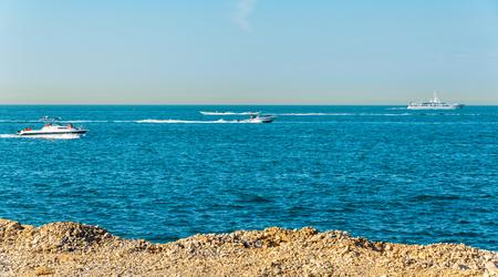 persian gulf: Persian Gulf near Palm Jumeirah island in Dubai, UAE Stock Photo