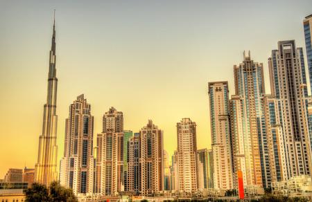 skyscraper sky: Skyscrapers in Business Bay district of Dubai, UAE Stock Photo