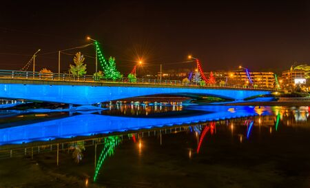 isfahan: Ferdowsi Bridge on the Zayanderud river in Isfahan - Iran Stock Photo