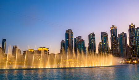 christmas in the city: Choreographed Dubai Fountain in the evening - UAE
