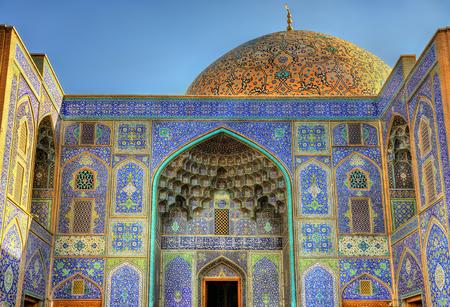 Sjeik Lutfallahmoskee op Meidan Emam van Isfahan, Iran Stockfoto