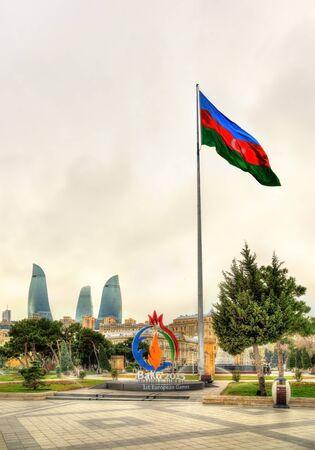 caspian: BAKU, AZERBAIJAN - JANUARY 7: Emblem of Baku 2015 European Games at the Caspian seashore in Baku on January 7, 2016. The city held the First European Games from 12 to 28 June 2015