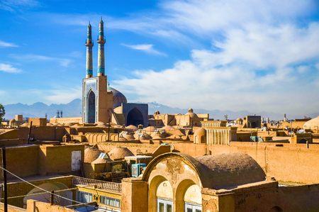 View of the historic centre of Yazd - Iran 스톡 콘텐츠
