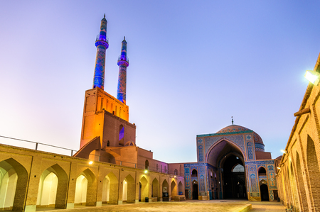 islamic scenery: Courtyard of the Jame Mosque of Yazd in Iran. The mosque is crowned by a pair of minarets, the highest in Iran.