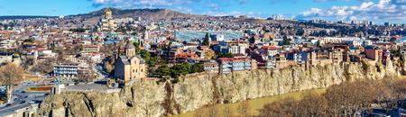 rustaveli: Panoramic view of Tbilisi, the capital of Georgia Stock Photo