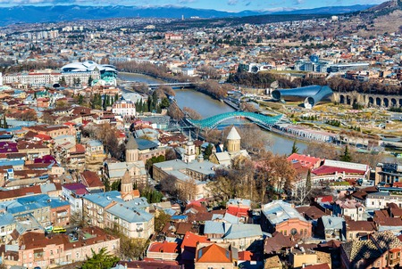 rustaveli: Aerial view of Tbilisi, the capital of Georgia