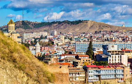 rustaveli: View of Tbilisi, the capital of Georgia Stock Photo