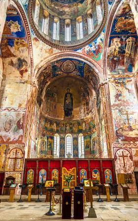kutaisi: Gelati, Georgia - January 11, 2016: Interior of Gelati Monastery near Kutaisi.